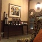The complementary tea and coffee area in the lobby, a nice touch when meeting up with friends.
