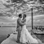 Couple on dock after wedding