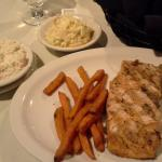 salmon with cole slaw and fried sweet pototoes