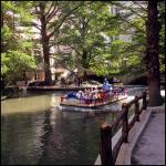 The Riverwalk and tour boat.