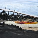 Kayaks and beach