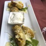 Broken Artichoke Hearts served with a lemon horseradish aioli