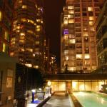 The area surrounding the pool is gorgeous at night!