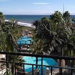 View from our balcony overlooking 2 large pools and ocean