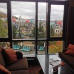 View of pools from lounge Fairmont Tremblant