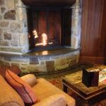 Fireplace in lounge Fairmont Tremblant