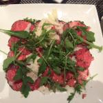 Beef carpaccio at hotel restaurant, very tasty and well presented