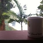 Drinking morning coffee and enjoying the beautiful view from the balcony