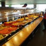 Huge selection of food in the dining room