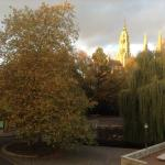 The park like setting with the spires of the cathedral