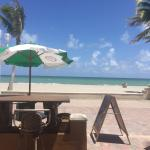 View of the beach while enjoying a drink at the Tiki bar
