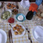 Some of the antipasti that were served family style