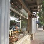 Front of Cafe Carmel - Window decorated for Thanksgiving