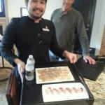 Wait staff delivered personalized home baked dog cookies and chocolate dipped strawberries
