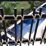look donw from balcony, the way of decorating the fence is creative