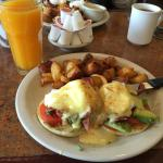 Eggs Benedict and fresh OJ
