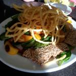 Southern Spinach Salad – Grilled Peaches, Spiced Pecans, Fresh Berries and Fried Onions