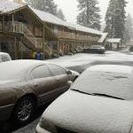 This shows a little of the Inn with snow coming down , very nice place ...