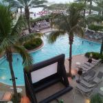 Movie screen pool side with family-friendly movies (view from room 371 balcony)