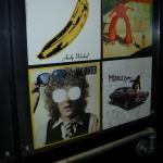 Record covers in the lift at the hotel