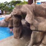 Cave formation in pool area