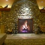 Real log fire in the Lobby