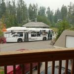"View of trailer park and bus stop from our ""quiet"""