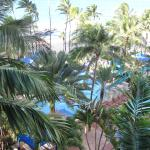 view of pool from room #638 in low-rise building