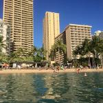 Waikiki beach looking back at hotel in middle
