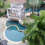 1 of 2 kiddie pools plus main pool with swim up barfrom room