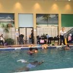 Pool is not very relaxing. Kids swimming instruction taken place on the weekends. Kids everywher