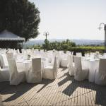 Our al fresco poolside dinner reception - by day