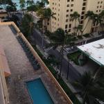 Looking down on pool and jacuzzi