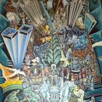 Wonderful art deco mural of NYC in lobby