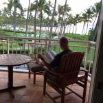 While reading: the incredible view of the grounds and ocean.