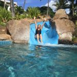 My Wife taking on the water slide between pools.