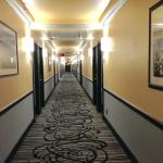 The ugly carpet hallway and black trim look