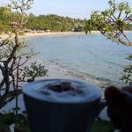 Cappuccino at breakfast overlooking the beach and sea