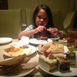 Dessert hour at the Executive Lounge...yeah she over did it :)