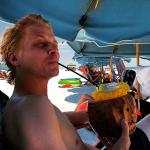 Awesome beach bar with coconut drinks! The main attraction.