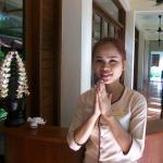 One of the lovely staff members of the Resort-welcoming us every day with a warm greeting and sm