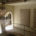 Chandelier and Toile Fabric Panels