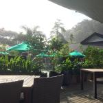 Breakfast/Lunch area, Swimming pool behind