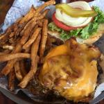8oz black angus cheddar burger with bacon and fried egg