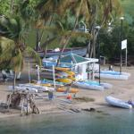 the beach at Marigot Bay takenfrom the hotel