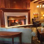 Wood burning fireplace in reception area