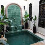 Pool and courtyard by my room in Riad Houdou in Marrakech