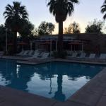 Pool and bar area at dusk