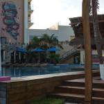 Outdoor pool with bar