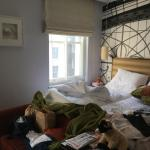 Our mess after our fifth night. Such comfy beds & lovely light coming in.